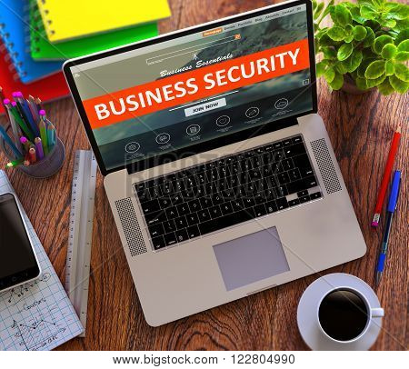 Business Security on Laptop Screen. Safety and Protection Concept. 3D Render.