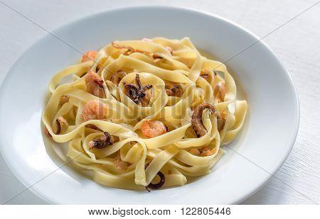 Tagliatelle Pasta With Seafood