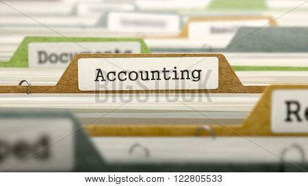 Accounting on Business Folder in Multicolor Card Index. Closeup View. Blurred Image. 3D Render.