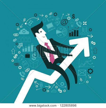 Business progress concept. Businessman graph up. Infographics  success. Presentation of business growth