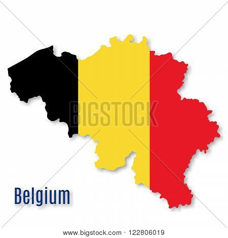 Belgian flag overlaid on detailed outline map with shadow isolated on white background. Vector illustration with flat graphic design element. Banner or poster.