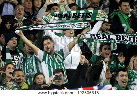 BARCELONA - MARCH, 3: Supporters of of Real Betis during a Spanish League match against RCD Espanyol at the Power8 stadium on March 3, 2016 in Barcelona, Spain