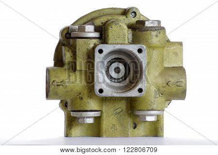 Engine block aluminum industry objects isolated white backgrounds.
