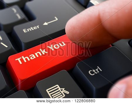 Thank You Red Button - Finger Pushing Button of Black Computer Keyboard. Blurred Background. Closeup View. 3D Render.