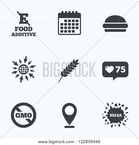 Calendar, like counter and go to web icons. Food additive icon. Hamburger fast food sign. Gluten free and No GMO symbols. Without E acid stabilizers. Location pointer.