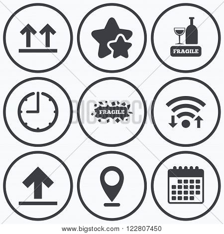 Clock, wifi and stars icons. Fragile icons. Delicate package delivery signs. This side up arrows symbol. Calendar symbol.
