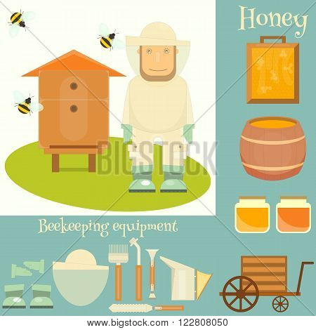 Apiary Set. Apiary Beekeeper Beehive and Beekeeping Equipment. Vector Illustration.