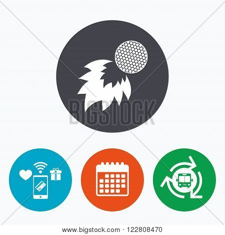 Golf fireball sign icon. Sport symbol. Mobile payments, calendar and wifi icons. Bus shuttle.