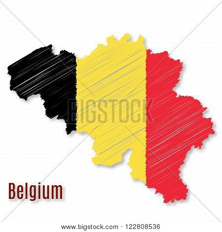 Belgian flag overlaid on detailed outline map with shadow isolated on white background. Vector illustration with flat graphic design element with embroidery effect. Banner or poster.