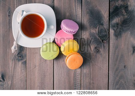Tea Cup With French Cookies