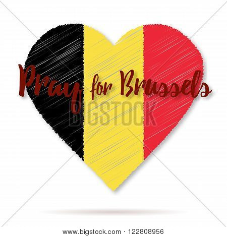 Belgian flag overlaid on heart shape with shadow isolated on white background. Flat graphic design element with embroidery effect. Phrase Pray for Brussels lettering.