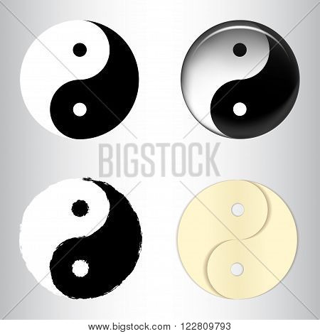Set of yin yang symbols textured - paper glass brush in vector