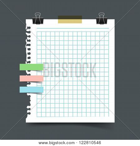 Paper sheet torn from a notebook. Realistic vector illustration of squared sheet of notepaper from ring binder with scotch tape pieces and paper clip