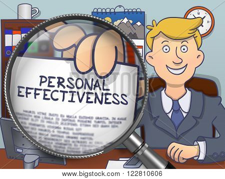 Business Man in Suit Showing Paper with Text Personal Effectiveness through Lens. Closeup View. Multicolor Doodle Style Illustration.