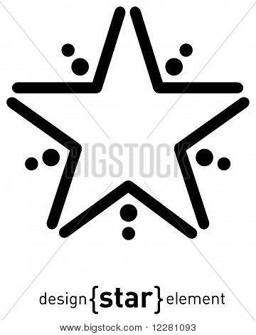 Design Element Abstract Star, Raster Illustration