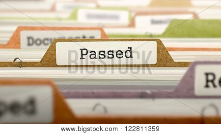 Passed Concept on File Label in Multicolor Card Index. Closeup View. Selective Focus. 3D Render.