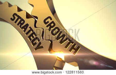 Growth Strategy on Mechanism of Golden Metallic Gears. Growth Strategy on the Mechanism of Golden Cogwheels with Lens Flare. Growth Strategy - Illustration with Glowing Light Effect. 3D.