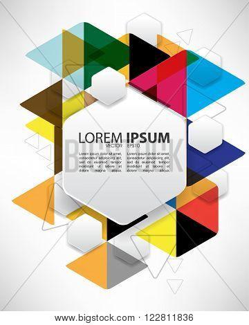 eps10 vector hexagon polygon frame over ink splatter triangular multicolored background