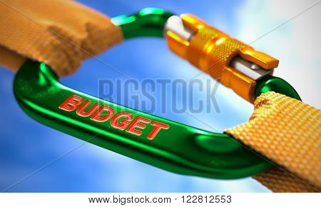 Green Carabiner between Orange Ropes on Sky Background, Symbolizing the Budget. Selective Focus. 3D Render.