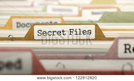 Secret Files on Business Folder in Multicolor Card Index. Closeup View. Blurred Image. 3D Render.