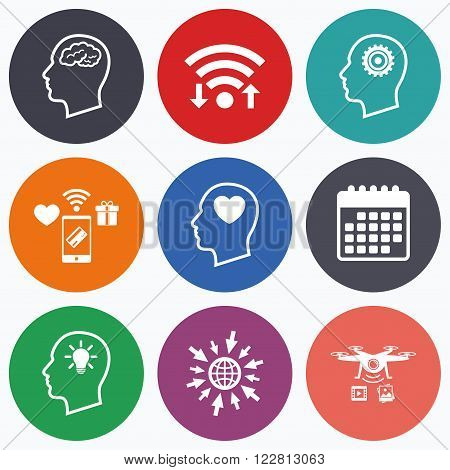 Wifi, mobile payments and drones icons. Head with brain and idea lamp bulb icons. Male human think symbols. Cogwheel gears signs. Love heart. Calendar symbol.