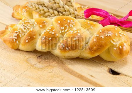 Homemade Braid Pastry With Wheat Plant