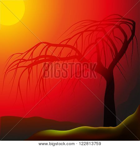 Lonely tree against sunrays, hilly landscape, vector illustration