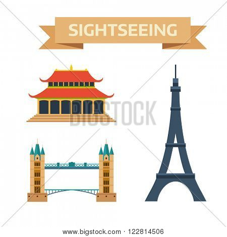 Paris, London, China europe famous travel. Paris, London, China sightseeing culture. Sightseeing eiffel tower Paris, London bridge, China summer imperial palace traditional history landmark vector.
