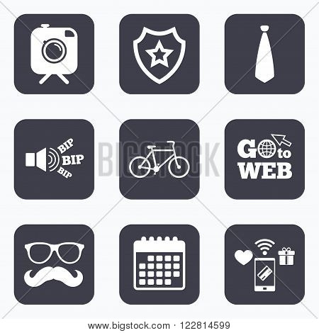 Mobile payments, wifi and calendar icons. Hipster photo camera with mustache icon. Glasses and tie symbols. Bicycle family vehicle sign. Go to web symbol.