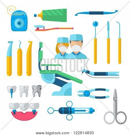 Dentist tools equipment and hygiene clinic dentist tools. Dentist tools instrument surgeon. Dental orthodontic accessory doctors. Flat dental instruments set dentist tools concept vector illustration.