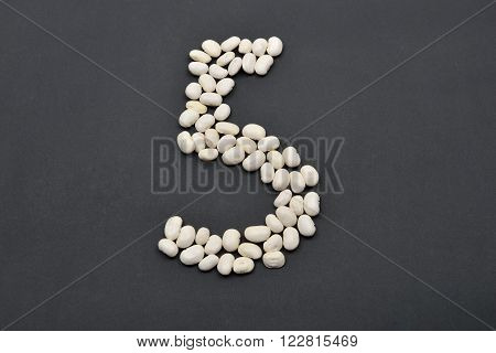 Number Five Made From White Beans On Black Background. Food Vegan, Vegetarian. Healthy Food