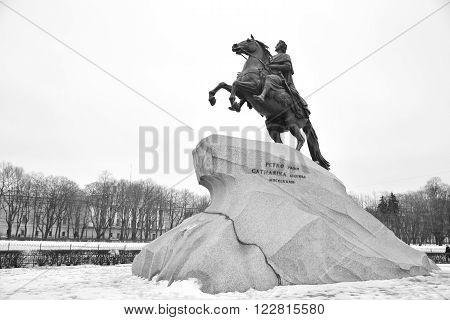 Bronze Horseman - monument to Peter I on the Senate Square in St. Petersburg. Black and white.