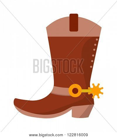 Wild west leather cowboy boots with spurs and stars vector illustration. Boots american spur and boots spur west leather rodeo. Old traditional ranching brown boots. Retro shoe spurs fashion vector.