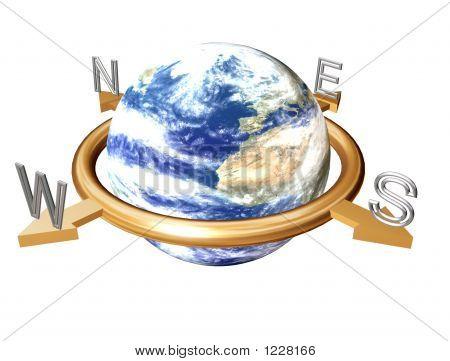 Bússola de terra isolada