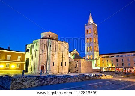 Zadar historic square and church evening view Dalmatia Croatia