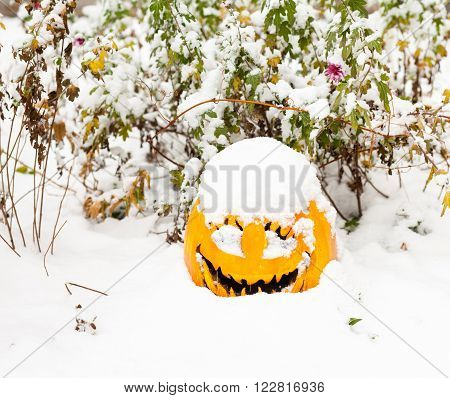 Halloween pumpkin (jack-o-lantern) covered with the snow.