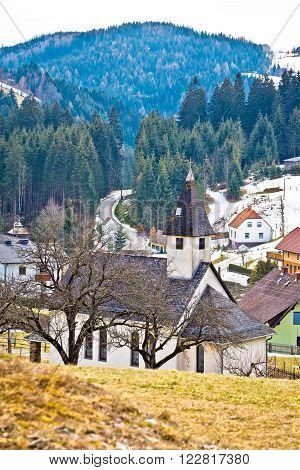Alpine village of Kliening in Carinthia Austria