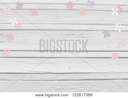 Baby shower birthday day or wedding mockup scene with white wooden background floral paper lilac or hydrangea confetti and empty space top view