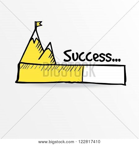Loading bar with flag on top of mountain success leadership or challenge concept vector illustration