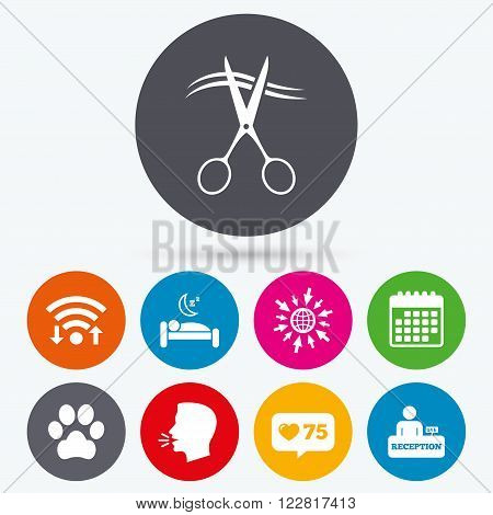 Wifi, like counter and calendar icons. Hotel services icons. With pets allowed in room signs. Hairdresser or barbershop symbol. Reception registration table. Quiet sleep. Human talk, go to web.