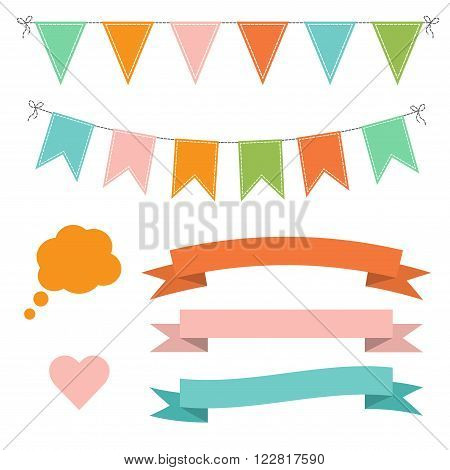 Set of multicolored flat buntings garlands flags ribbons heart and speech bubble. Celebration decor