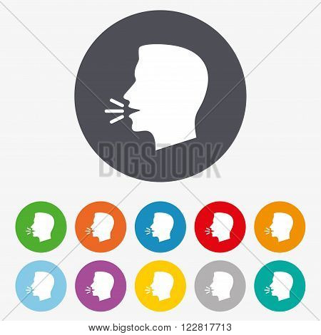 Talk or speak icon. Loud noise symbol. Human talking sign. Circle colourful buttons.