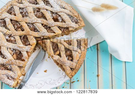 Homemade Rustic Apple Tart Pie On Plate Over Wooden Turquoise Background