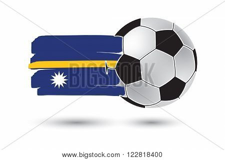 Soccer Ball And Nauru Flag With Colored Hand Drawn Lines