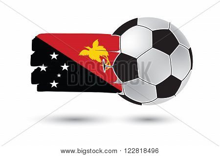 Soccer Ball And Papua New Guinea Flag With Colored Hand Drawn Lines