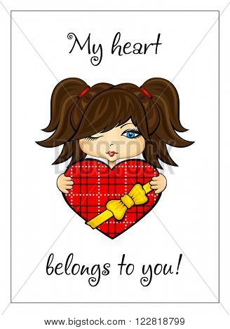 Vector illustration of girl with heart