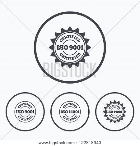 ISO 9001 and 14001 certified icons. Certification star stamps symbols. Quality standard signs. Icons in circles.