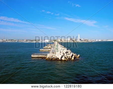 Pier in the port of Bari in Italy.