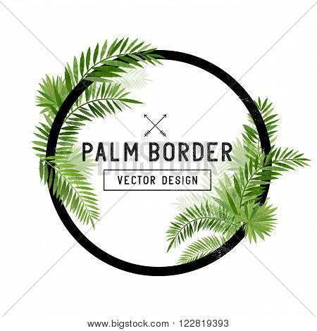 Tropical Palm Leaf Border Vector. summer Palm tree leaves around a circle border. Vector illuatration.