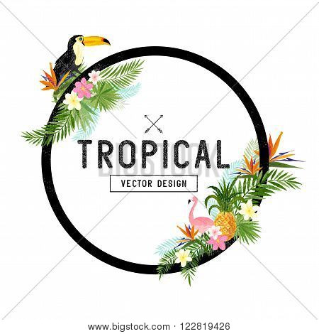 Tropical Border Design. tropical hand drawn elements including bird of paradise flower Toucan and flamingo birds and tropical floral elements.